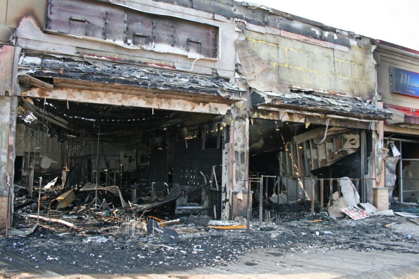 commercial property building destroyed by fire
