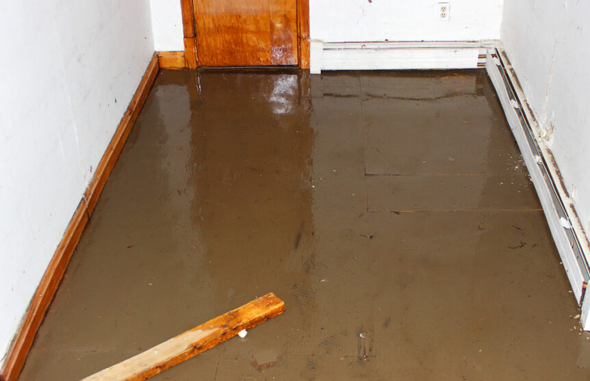basement flooded with water and sewage damage